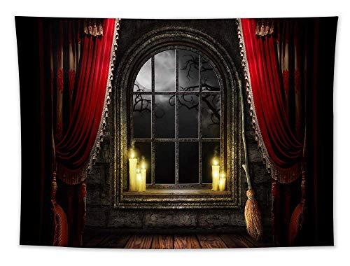 Haunted Mansion Halloween Hexenbesen Kerzen Horror Fenster Landschaft Mond Nacht Tapisserie Wald Baum Tapisserie Natur Landschaft Tapisserie Wandbehang für Zimmer (203 x 152 cm)