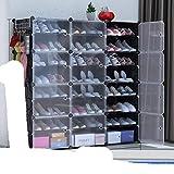 US Zapatero de gran capacidad para almacenamiento de botas de 12 cubos modulares de plástico, 6 niveles, 24 – 96 pares de zapatero, color negro, 3 x 8 niveles, Estados Unidos