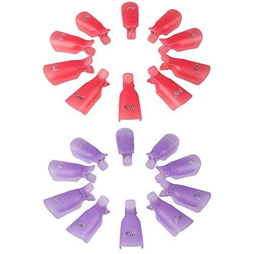 Beauty7 Nail Art 20 PCS Clips Acrylique Dissolvant Vernis a Ongles Caps UV Gel Polish Remover Wrap Nettoyeur Soaker Clip Casquettes Violette et Rose