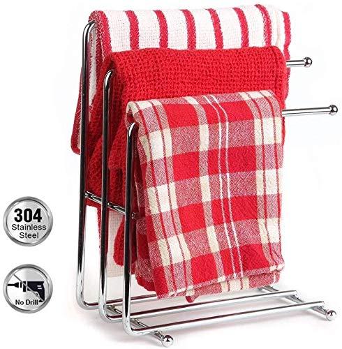 MMW Küchenhandtuchhalter Ständer Freistehender Handtuchhalter Rost Edelstahl 3 Tier Geschirrtuchhalter für Küchenspüle Handtuchhalter Arbeitsplatte für Waschküche, Badezimmer, Büro, 2er Pack