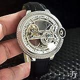 HHBB Marca de lujo hombres de cuero negro bisel de diamante automático mecánico reloj de acero inoxidable esqueleto Tourbillion Zafiro Relojes Aaa+, plateado y blanco