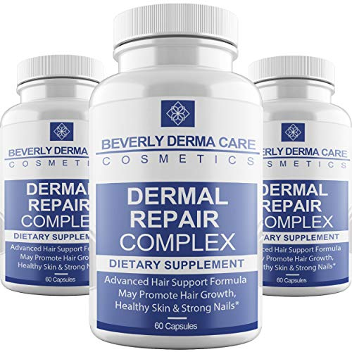 Beverly Dermal Repair Complex Supplement with Biotin, Vitamin B12, Vitamin B6, Vitamin C, Vitamin D & Vitamin E - Best Formula On The Market - 3 Bottles