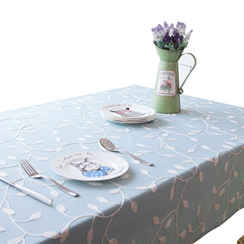 NiSeng Nappes imprimé Anti Taches Polyester Nappe de Table Rectangulaire Nappe pour Table Exterieur décorative Bleu 140x220 cm