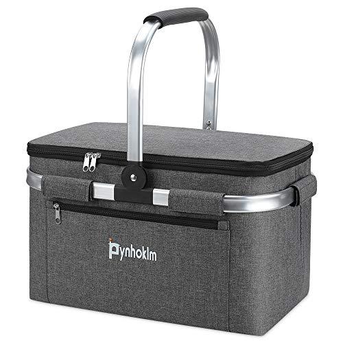 Cesta de pícnic, cesta térmica, cesta de la compra, nevera portátil, bolsa isotérmica, bolsa de la compra, bolsa de pícnic, para transportar alimentos, desayuno/almuerzo (22 L, gris claro)