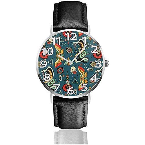 Horloge Polshorloge Bold Ogen Tattoo Patroon Klassiek Casual Quartz Zwart Lederen Band Horloge Zakelijke Horloges