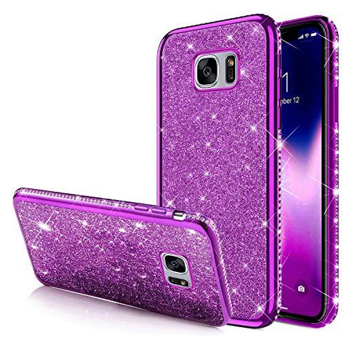 Funda protectora con purpurina compatible con Galaxy S7 Edge, diamantes brillantes, diamantes de estrás, funda de silicona TPU suave, carcasa trasera de silicona TPU. morado