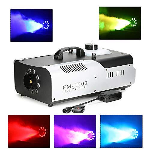 DiLiBee Maquina de humo profesional de efectos de luz con control remoto de 1.5KW Etapa DMX LED RGB 3in1 9x3W RGB