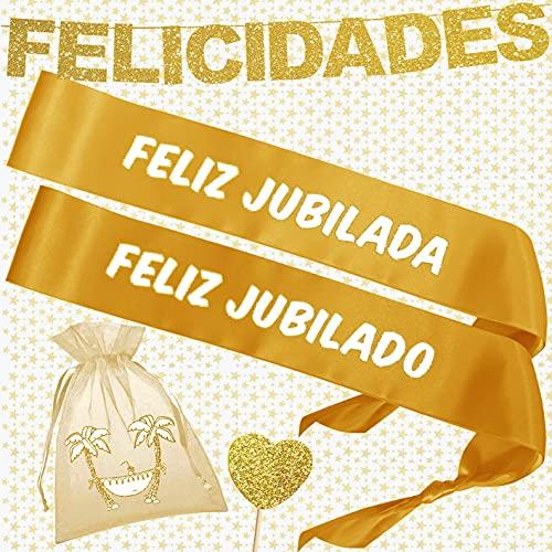 Inedit Festa Bandas Honoríficas Jubilado Jubilada Guirnalda Feliz Jubilación Boa de Plumas y Topper Corazón