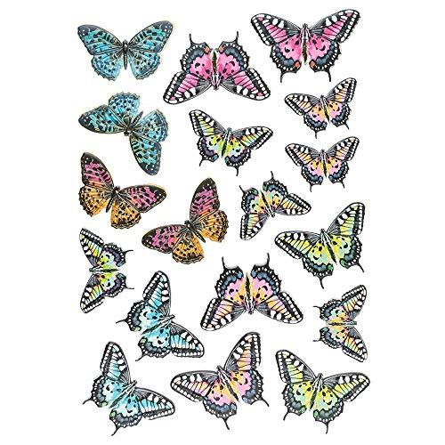Ideen mit Herz Stickerbogen 3-D Relief-Sticker | Aufkleber | Hochwertig geprägt mit 3-D-Effekt | Din A4 Bogen mit verschiedenen Motiven (Blumen & Schmetterlinge 03)