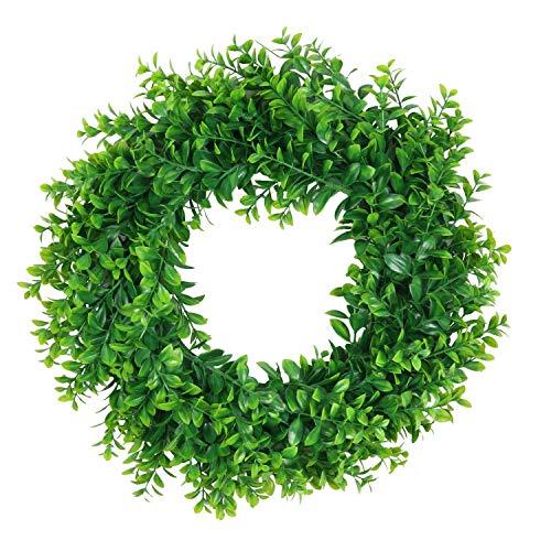 Pauwer 45 cm Künstliche Buchsbaumkranz Grüne Blätter Haustür Kranz Im Freien Grünen Kranz für Haustür Hängen Wand Fenster Hochzeit Party Decor (Buchsbaum verlassen)