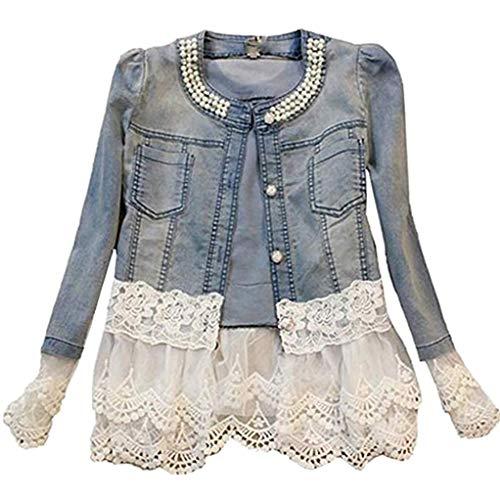 Damen Individuelle Perlen Spitze Nähen war Dünn Jeansjacke Mantel Outwear Kurz Denim Jacke Spitzenbolero Tops, S, Blau