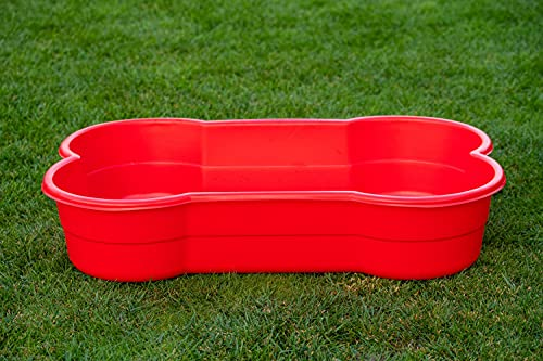 DogsLand Hundepool in Knochenform - 120 cm, rot, für große und kleine Hunde, Biss- und krallenfest, UV-beständig, 100% Made in Germany