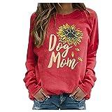 Carmar Camisetas para mujer de manga larga con diseño de huellas de perro y girasol, cuello redondo, para amantes de los perros, regalos