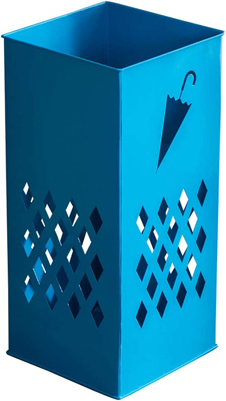 Umbrella Stand Household Umbrella Storage Bucket Wrought Iron Floor-Standing Multi-Function Umbrella Stand Creative Storage Rack, Multi-color Optional HBJP (color   bluee)