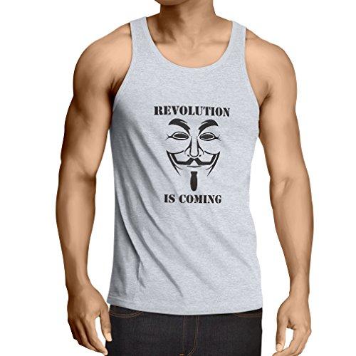 lepni.me Camisetas de Tirantes para Hombre La Revolución se Acerca Hackers Anónimos Legión V para Vendetta (Medium Blanco Negro)