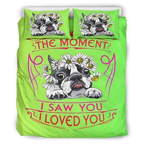 chvcodd Conjuntos retro 3 piezas almohada pública el momento I Saw You I Love You perro fundas nórdicas ropa de cama europea patrón negro color cama doble blanco 66x90 pulgadas
