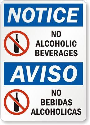 """Notice: No Alcoholic Beverages, Aviso No Bebidas Alcoholicas Label, 10"""" x 7"""""""
