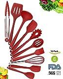 Set de utensilios de cocina de silicona de 10 piezas - espátulas, cucharas y tornillo, kit de herramientas de cocina casero premium resistente al calor