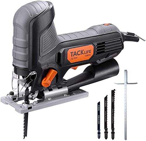 Jig Saw, TACKLIFE 5.0 Amp Barrel-Grip Jigsaw with 800-3000SPM Variable Speed, 3 Blades, Adjustable Aluminum Base, Pure Copper Motor, Tool-free Blade Changing, 10 Feet Cord – TJS01A