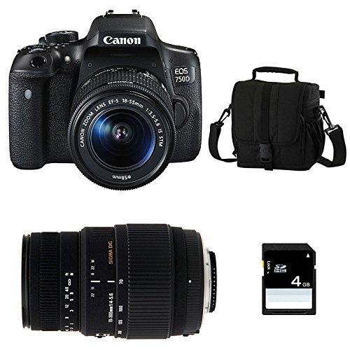 CANON EOS 750D + 18-55 IS STM + SIGMA 70-300 DG MACRO + Sac + SD 4Go