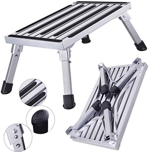 HDM 47x 30x 23cm Aluminio Escalera de 1nivel Plataforma de trabajo (carga máxima 150kg para cocina, baño, camping y más, plegable Taburete Escalera con alfombrilla antideslizante