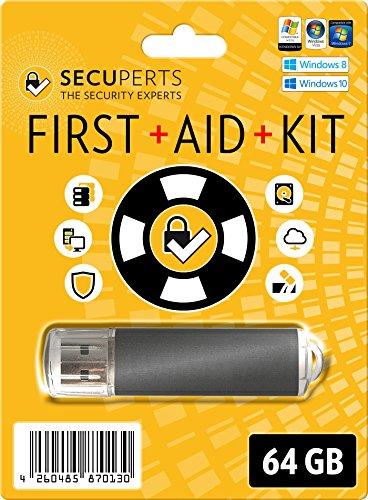 SecuPerts First Aid Kit - Erste Hilfe Paket für Windows - Datenrettung und Virenscanner - 64GB USB3.0-Stick