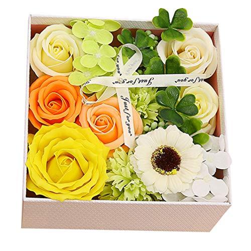 Amosfun Jabón de baño, clavel, día de San Valentín, caja de regalo, aspecto real, para el Día de la Madre, clavo artificial