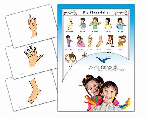 Yo-Yee Flashcards Grandes Cartes Images pour l'Encouragement linguistique - Corps / Parties du Corps - pour l'enseignement de l'Allemand à la garderie, au Jardin d'Enfants et à l'école Primaire