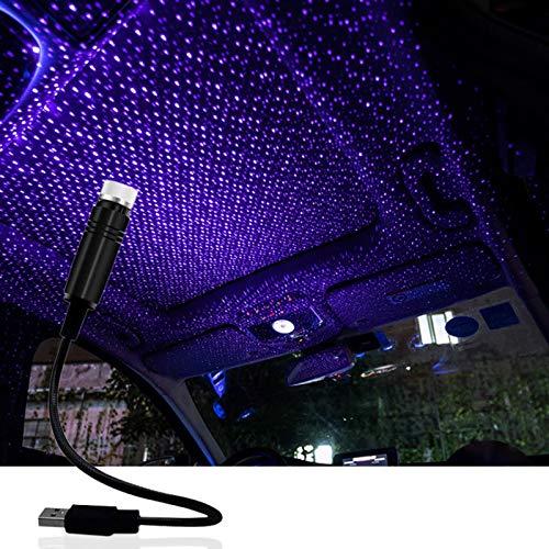 Luces LED de atmósfera, múltiples modos ajustables, proyector de estrellas USB, luz nocturna, luz de estrella de techo, decoración de atmósfera para coche/hogar/fiesta (azul púrpura)