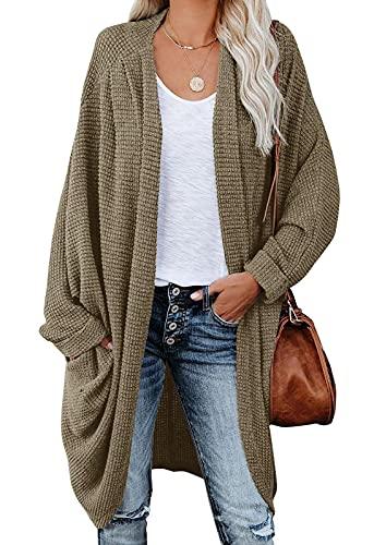 Cárdigan de Punto con Frente Abierto para Mujer Suéter de Gran tamaño Chunky Waffle Cable Boho Bolsillos Abrigo
