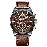 Mens Luxury Watches Business Chronograph Sport Waterproof Leather Strap Analog Quartz Calendar Clock Wrist Watch