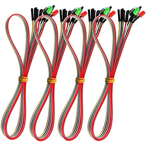 GUZZI 4 Piezas ATX Cable de Interruptor de Fuente de Alimentación, Cable de Luz LED HDD de 27 Pulgadas para Placa Base de Computadora PC, Reinicio Reinicio Cable de Interruptor de Encendido y Apagado