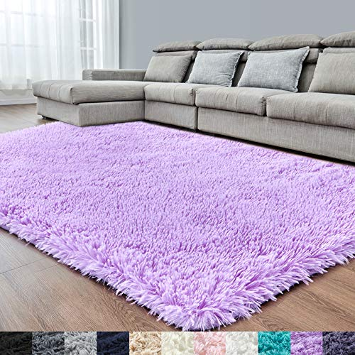 Purple Soft Area Rug for Bedroom,6x9,Fluffy Rugs,Lavender Rugs for Girls Room,Furry Rugs for Living Room,Shaggy Rug,Fuzzy Rug for Kids Baby Room,Plush Rug for Nursery Dorm,Non-Slip Rug,Purple Carpet