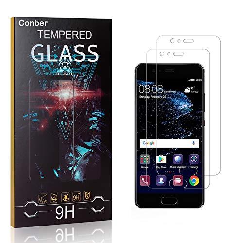 Conber [2 Stück] Bildschirmschutzfolie kompatibel mit Huawei P10 Plus, Panzerglas Schutzfolie für Huawei P10 Plus [9H Festigkeit][Hüllenfre&lich]