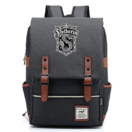 Harry P Slytherin Daypack, College School Hogwarts Backpack, Outdoor Oxford Cloth Backpack, Fits 15' Laptop Tablet L-16inch Type-5