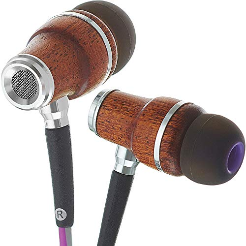 Symphonized NRG 3.0 Wood Earbuds Wired, In Ear Headphones with Microphone for Computer & Laptop, Ear Phones for Android with Stereo Sound (Purple & Gray)
