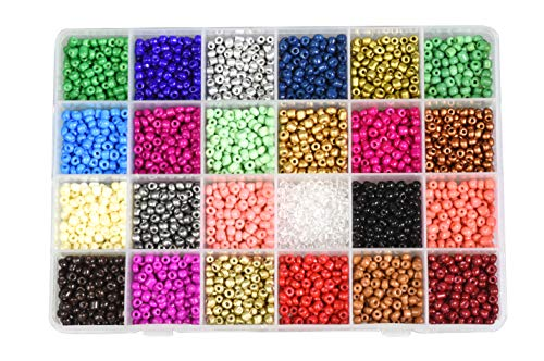 Mandala Crafts Glass Seed Beads for Jewelry Making – Mini Glass Beads for Bracelets Waist Beads - Small Pony Beads Kit Bulk Beading Supplies for Crafts