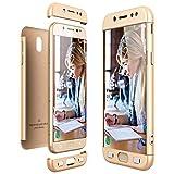 HülleFun Hülle für Samsung Galaxy S7 3 in 1 Handyhülle 360 Grad Full Body Schutz Schutzhülle Anti-Kratzer Bumper Hardcase Champagner Gold