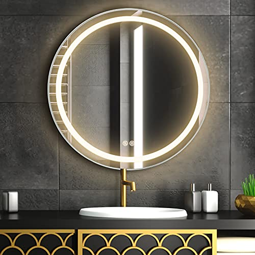 FAUETI Espejo de baño con iluminación LED, 60 cm, color blanco cálido, 3000 K, espejo de pared con interruptor táctil + antiempañamiento IP44 de bajo consumo