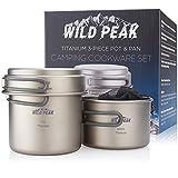 Wild Peak Titanium Lightweight 3-Piece (1.2L, 800ml, 400ml) Pot and Pan Camping Hiking Mess Kit Cookware Set