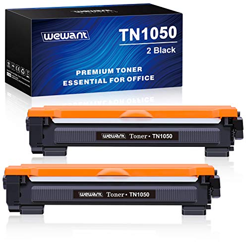 Wewant Toner TN-1050 Cartucce Toner Compatibile Brother TN1050 per Brother HL-1110 HL-1111 HL-1112 HL-1210W HL-1202 HL-1212 DCP-1510 DCP-1511 DCP-1512 DCP-1612W DCP-1610W MFC-1810 MFC-1910, 2 Nero