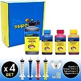 (S) Small-4 Kit de tintas superInk (Dye) para Todas Las impresoras de Canon 1x250ml Negro 3x100ml (Cian Magenta Amarillo) 4 Set de Accesorios (Guantes, jeringas, Agujas)