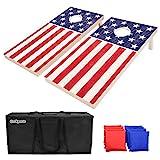 GoSports Regulation Size Solid Wood Cornhole Set – American Flag...