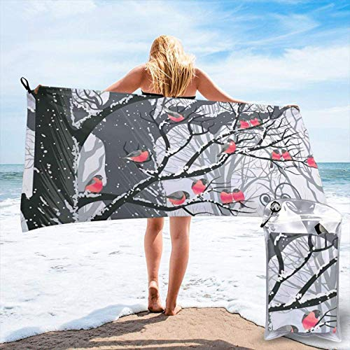 KIMIOE Microfaser Strandtuch,Leicht und Kompakt Stranddecke Cute Bullfinches On Trees Winter City Park Snow Cold Weather Immigrant Birds Design Theme,Fast Drying Beach Travel Camping Towel