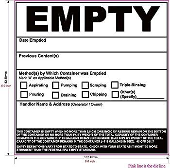 New 2016 Updated Empty Label OSHA Hazardous Waste Label 6 x6  Tough Vinyl 100 Pack