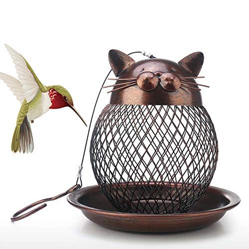 Ifukens バードフィーダー 野鳥 小鳥 吊り下げ 鳥の餌箱 メタルネット 鳥 給餌器 餌入れ おしゃれ レトロ 猫の形 自動給餌器 野鳥観察 餌台 餌場 室内 室外 ペット用品 鳥用品 庭園の装飾