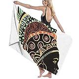 N/A Afrikanische Frau Clipart Erwachsenen Mikrofaser-Strandtuch Übergröße 79 x 130 cm schnell trocknend sehr saugfähig Mehrzweck-Badelaken für Damen und Herren