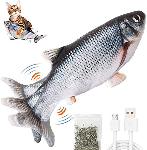 BTkviseQat Katzenspielzeug Fisch elektrisch,interaktives Spielzeug USB zappelfisch Plüsch Fische Spielzeug Fisch mit Katzenminze für Katze zu Spielen,Cat Toy Haustiere Kissen Kauen Spielen, Kick
