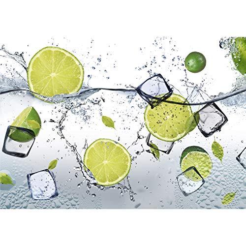 decomonkey Fototapete Küche 350x256 cm XL Tapete Fototapeten Vlies Tapeten Vliestapete Wandtapete moderne Wandbild Wand Schlafzimmer Wohnzimmer Obst Limone Eis Wasser