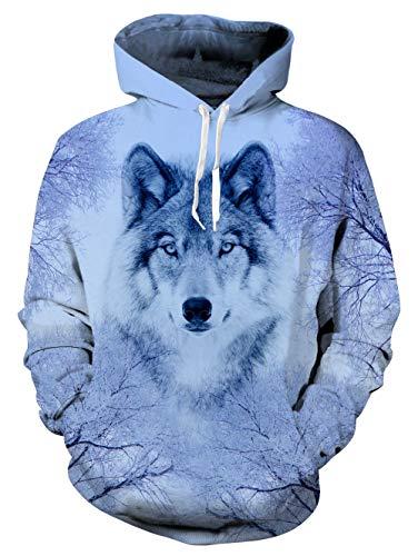 uideazone Herren Weiß Wolf Hoodie Teens Langarm Weiß Pulli mit Kapuzen Wolf Sweatshirt Pullover,S-M,Wolf 3